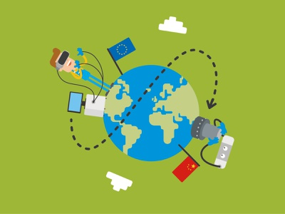 remote work future vr computer globe flag remote work world china europe robot earth flat man people character design illustration 2d