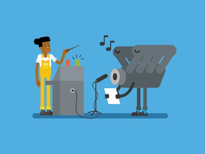System Engineering technique motor music sing maschine technical work girl woman industrial industry vector flat people character design illustration 2d