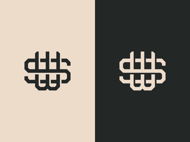 S + W Monogram Logo flat design flat monogram design monogram logo sw design monogram logo