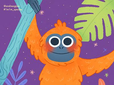 Tapanuli Orangutan kidsillustration design procreate plants ipad ipad pro illustration art illustration digital illustration digital