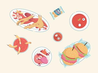 Zombie Food dead 2d illustration food blood burger meat