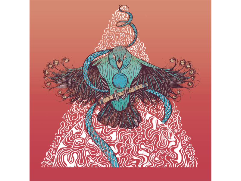 Cara de Doido - Vinyl Cover concept art character design colors psychedelic music bird drawing painting photoshop illustration