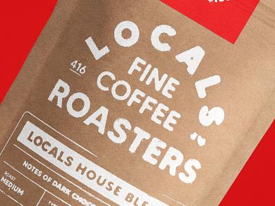 Locals Coffee Packaging handmade custom type design coffee beans coffeeshop branding packaging coffee