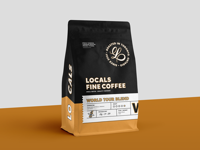 Locals World Tour Blend logo design typography lettering toronto branding packaging coffee packaging espresso coffee coffeeshop