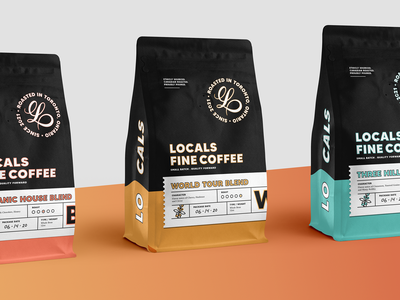 Locals - Packaging Variation clean simple toronto identity brand design coffee packaging packaging branding design espresso java coffee branding coffeeshop coffee branding design typography