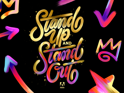 Adobe Experience Maker Awards gala award branding paint stroke paint gradient handlettering logotype script hand lettering typography calligraphy lettering
