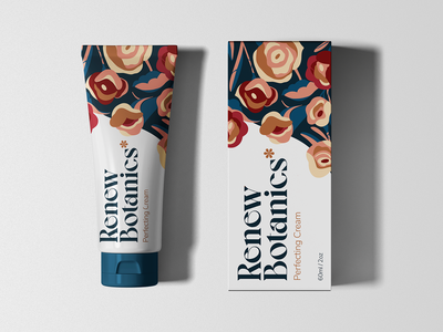 Renew Botanics - Perfecting Cream skincare lockup design flower illustration botanical women identity branding cream cosmetics packaging design packaging floral pattern floral