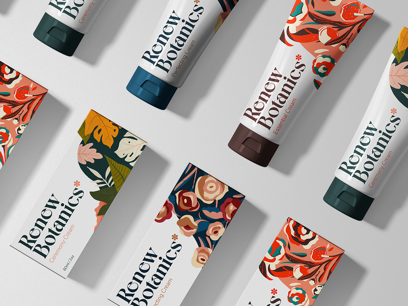 Renew Botanics - Packaging Set lettering cream lockup illustration skincare floral pattern cosmetic women botanical series indentity floral branding packaging