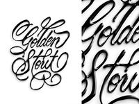 Golden Stout logotype brushtype handmade custom type script type hand lettering typography calligraphy lettering