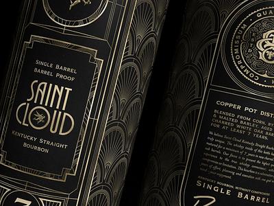 Saint Cloud Mailing Tube - Art Deco gold brand identity packaging whiskey bourbon branding illustration art deco lettering