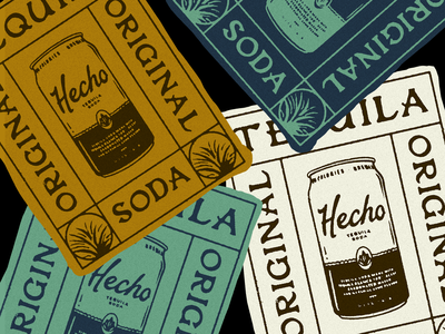 Hecho Tequila Soda lockup poster seltzer merch sticker branded content illustration lettering typography tequila