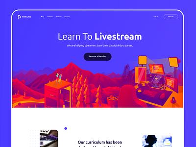 Pipeline.gg layout ui uiux hero image pipeline start up website sketch vector illustration webdesign landing page splashpage video games live stream gaming