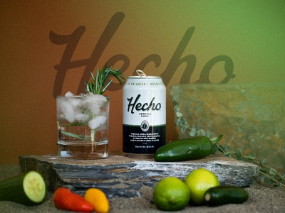 Hecho Tequila Soda branding and identity can design packaging seltzer tequila photoshoot brand identity branding typography calligraphy lettering