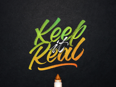 Keep It Real texture brushtype calligraphy tombow maker sketch handlettering handmade logotype handmadetype lettering