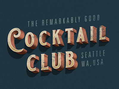 Cocktail Club shadow type 3d vector illustrator vintage print letterpress lettering typography