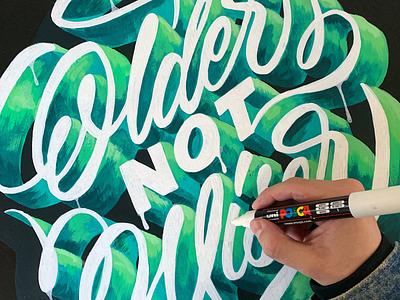 Older Not Wiser 2 brushpen brush script design hand made type brushtype handmadetype handlettering sketch logotype handmade custom type script type hand lettering typography calligraphy lettering