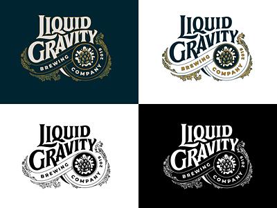 Liquid Gravity Logotype 2 logotypes flourishes identity identity design custom type typography illustration hand lettering logotype design california brewing company brewery logo beer logotype brewery calligraphy lettering