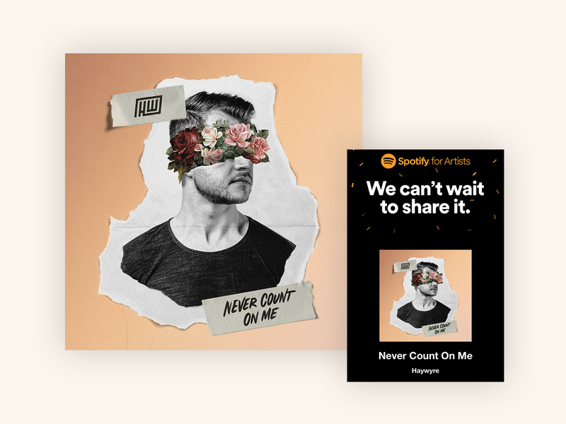 Never Count On Me - Haywyre Single Artwork spotify texture papercut lettering edm album cover art record music haywyre album cover