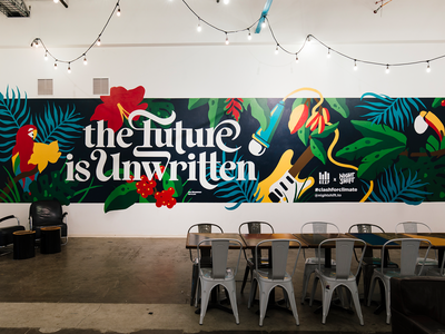 The Future is Unwritten Mural muralist mural design floral jungle wall art mural hand lettering typography calligraphy lettering