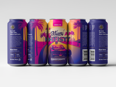 Miami Heist Double IPA illustration hand lettering typography calligraphy lettering beer branding miami retro packaging alcohol beer beercan