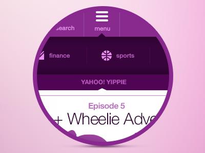 Menu/Navigation UI ui design purple menu navigation ux yahoo