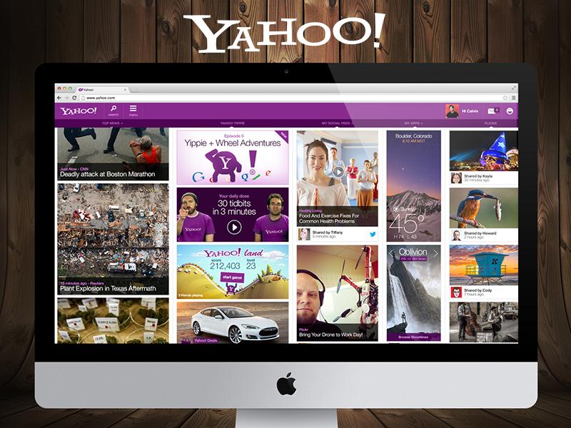 Yahoo! Reimagined yahoo! redesign ui ux user experience design mobile grid purple search yahoo.com