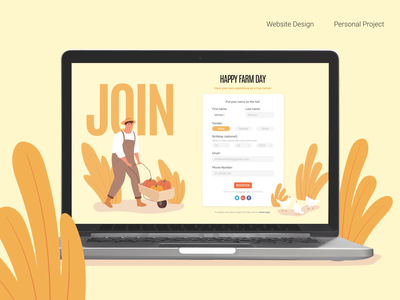 Happy Farm Day - Sign Up Screen website minimal flat web design ui