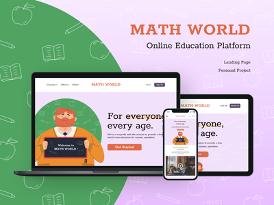 Math World - Landing Page Concept Responsive math online learning online course flat ui ui design education landing page education landing page design ui flat