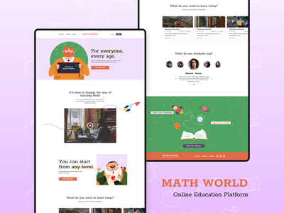 Math World - Landing Page Desktop Full Page minimal uidaily online learning online course mathematics education landing landing page education website uidesign illustration flat ui design