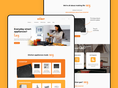 CHEF - Kitchen Appliances Website brand-focused web design appliances kitchen appliances cook redesign website cooking kitchen