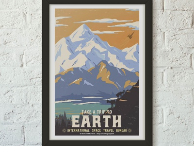 Retro Travel Poster - Earth science space travel app travel science fiction design animation branding vector logo illustration