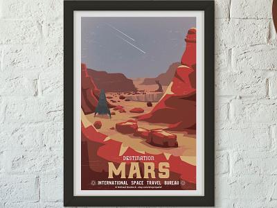 Retro Travel Poster - Mars science branding art art direction vector travel space science fiction travel app design illustration animation