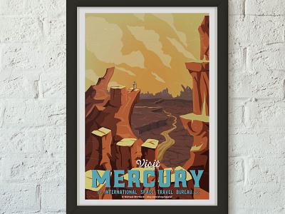 Retro Travel Poster - Mercury space logo branding art art direction travel travel app science science fiction design illustration animation