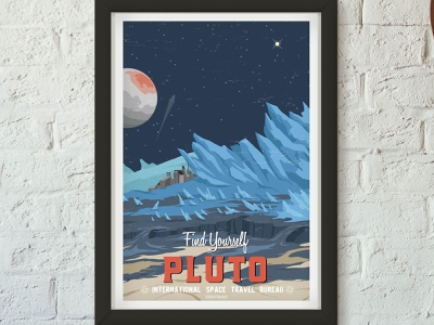 Retro Travel Poster - Pluto vector branding art art direction space animation science fiction science design illustration