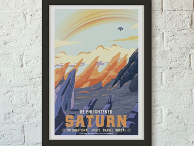 Retro Travel Poster - Saturn art advertising vintage retro advertisement travel travel app design science space science fiction vector art direction illustration