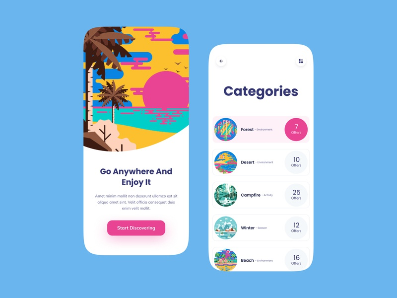 Travel Offerer Application onboarding figma ui offering offer camping application mobile traveling travel illustration app design