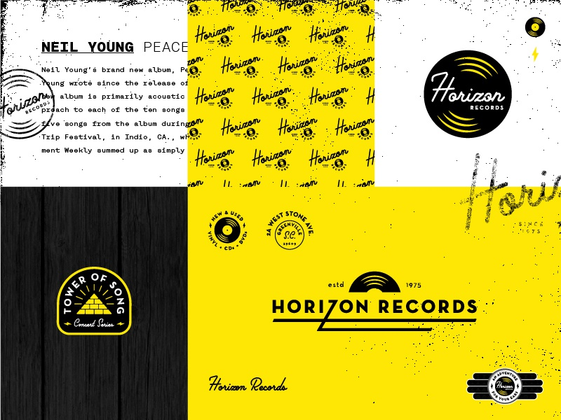 Horizon Records type mood board greenville record store turntable records vinyl music badge identity branding logo