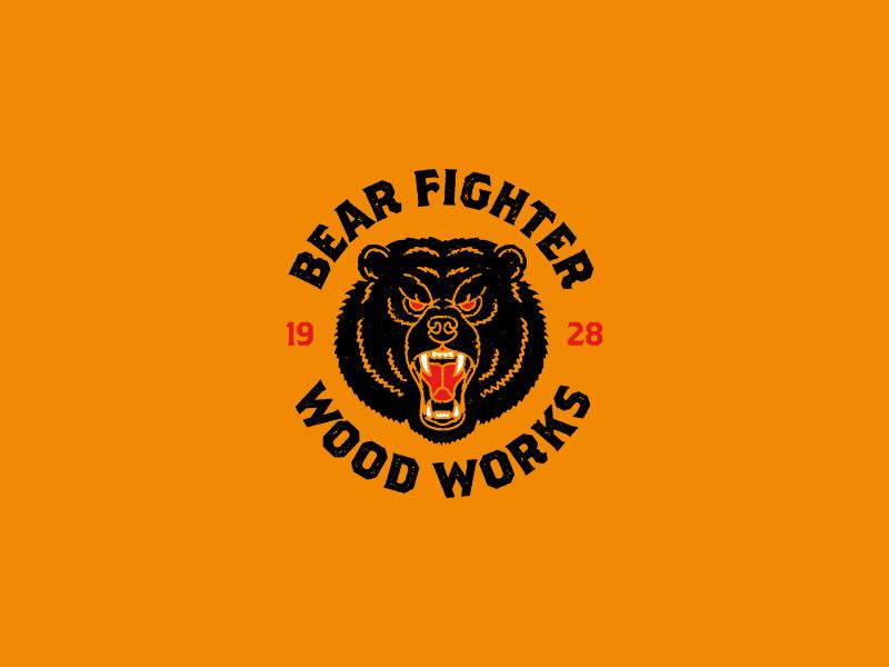 Bear Fighter Wood Works illustration bear identity branding logo