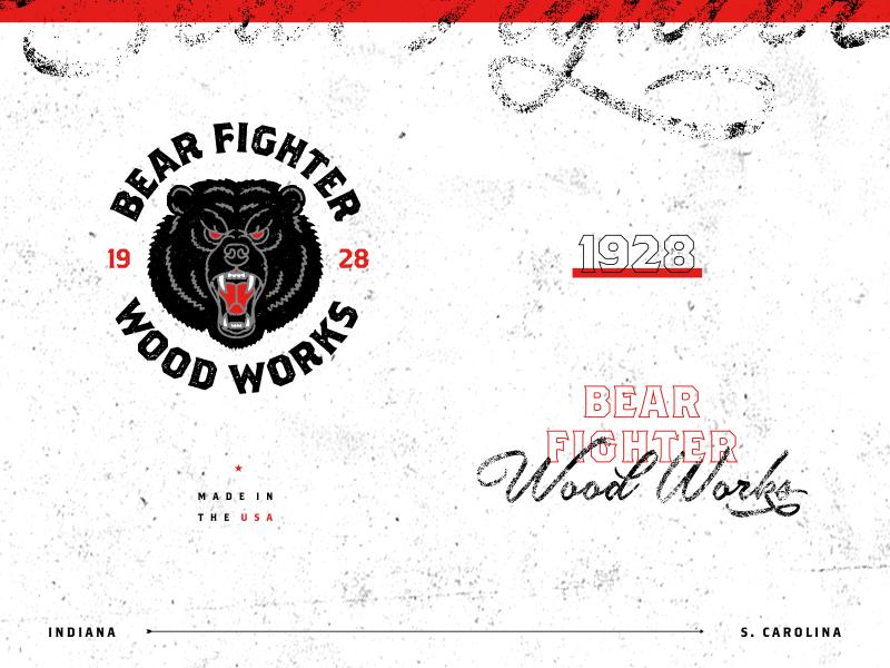 Bear Fighter Wood Works II type typography woodworking illustration bear identity branding logo