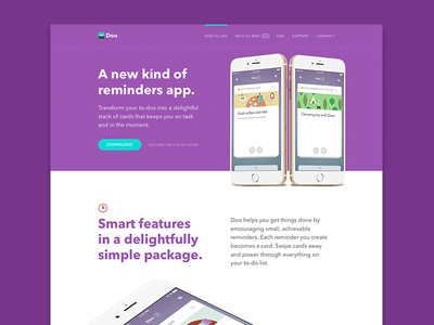Doo for iOS Website web design illustration responsive typography layout productivity os x landing marketing website app mac