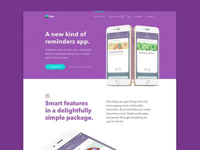 Doo for iOS Website web design illustration responsive typography layout productivity os x landing marketing website app mac
