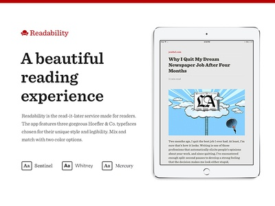 Readability case study typography read-it-later mobile app app ios readability