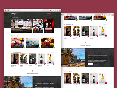 Vine By Me Homepage Mock wines web design vineyard layout homepage e-commerce
