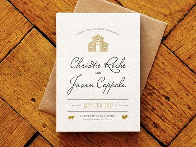 WIP Wedding Invitation barn typography invitation invite celebration wedding