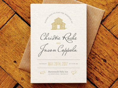 Wedding Invitation invites farm barn illustration typography invite invitation wedding