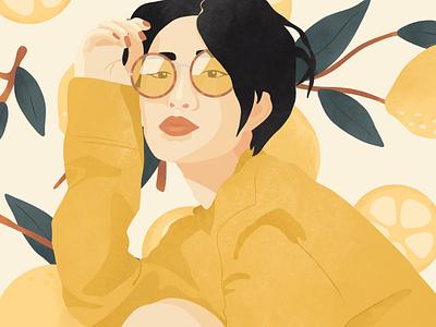 lemon head drawing portrait illustration woman illustration illustration portrait lemon tree short hair beautiful pretty beauty woman female sunglasses sweater yellow lemon pattern lemon