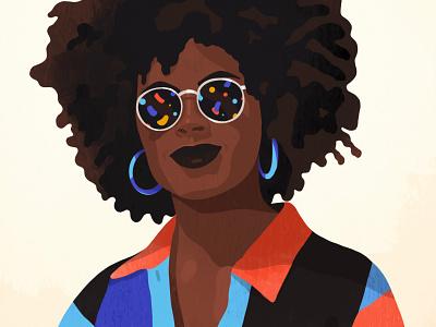 confetti sunglasses female woman illustration portrait illustration portrait colorful natural hair pretty earrings beautiful beauty black woman afro sunglasses confetti
