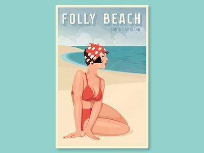 Folly Beach swim sand beach vintage south carolina folly beach