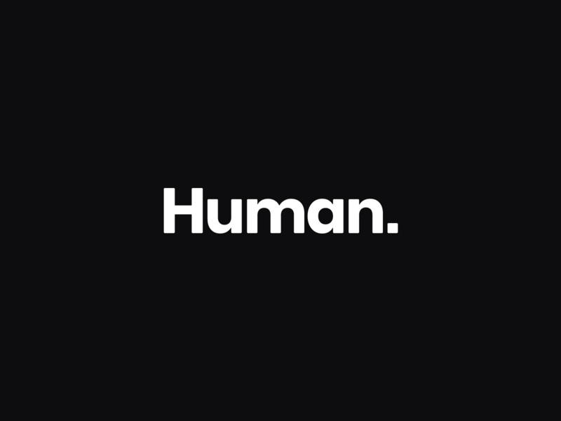 Human. identity black and white logo human