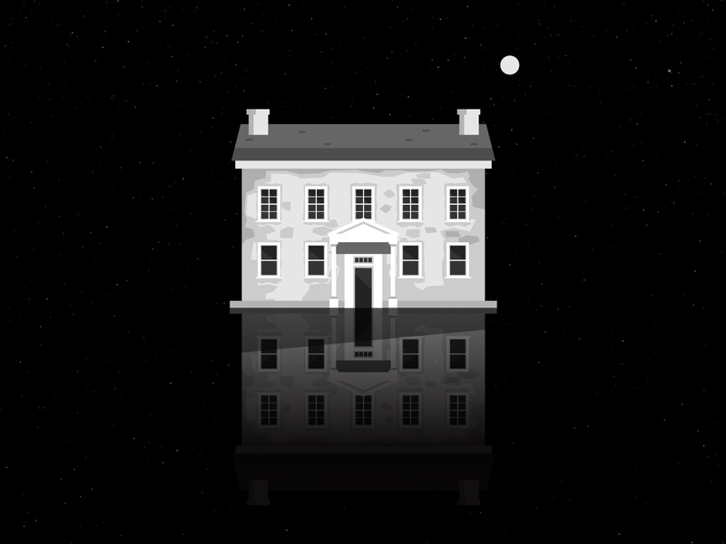space house shadows home ghost floating house moon space